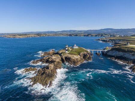 Aerial view of the Pancha Island in Galicia Banco de Imagens