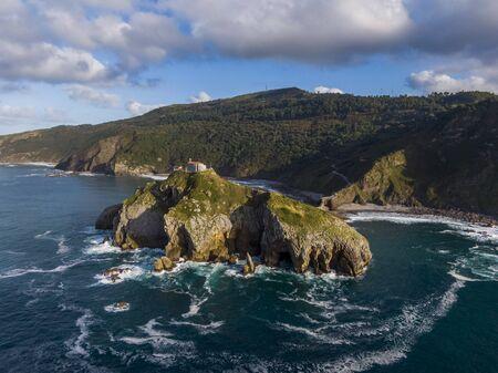 Aerial view of the Gaztelugatxe island, Basque Country, Spain
