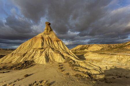 Cabezo de Castildetierra sandstone formation in Bardenas Reales semi-desert natural region in southeast Navarre, Spain