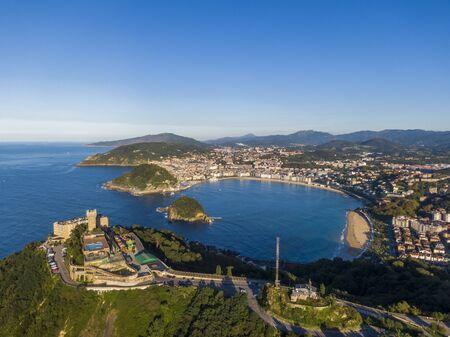 Aerial view of the Concha Bay in San Sebastian coastal city, Basque Country, Spain