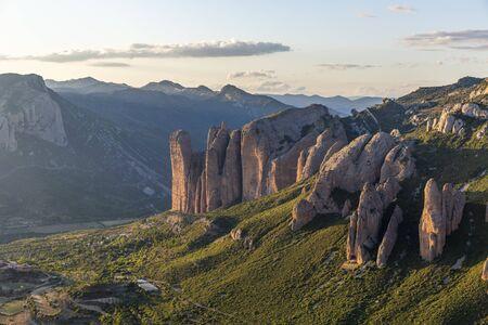 Mallos de Riglos, a set of conglomerate rock formations in Aragon, Spain