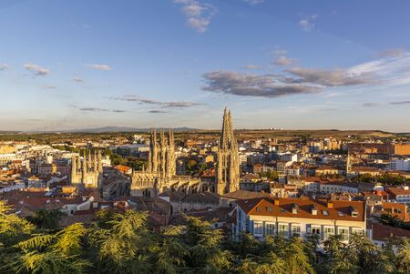 View of the Burgos city and Gothic Cathedral of Burgos, Castile and Leon, Spain