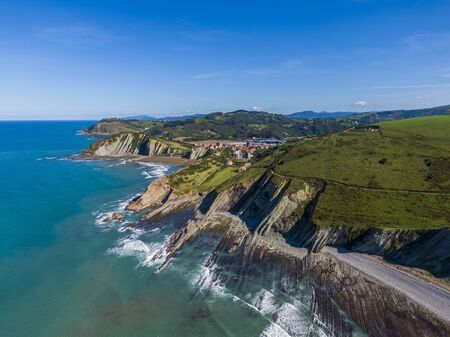 Aerial view of rock formations at Zumaia or Itzurun beach, Basque Country, Spain Banco de Imagens