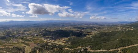 Aerial view of the green fields in La Rioja province, Spain