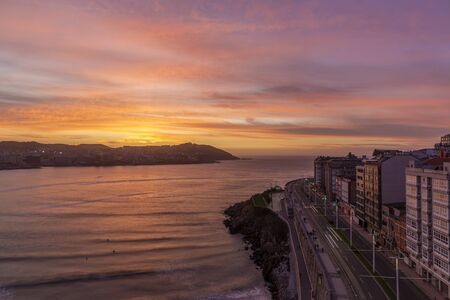 Evening view of A Coruna coastal city in Galicia, Spain