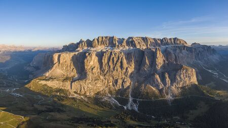Aerial view of Gardena Pass and Sella group, Italy
