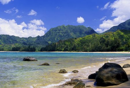 View of Hanalei Bay on the scenic north shore of Kauai, Hawaii.