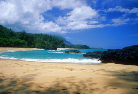 Beautiful and secluded Lumahai Beach on the north shore of Kauai, Hawaii.