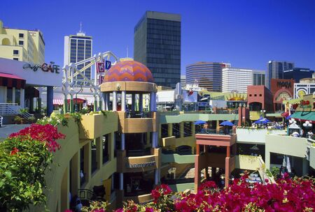 View of Horton Plaza Shopping Center in downtown San Diego, California.