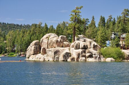 Treasure Island is located on Big Bear Lakes Boulder Bay. Stock Photo