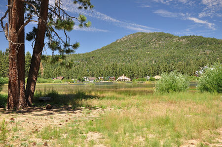 Lush green forests surround the mountain town of Big Bear, California
