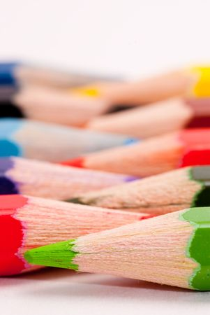 Colored pencils from a closeup perspective. photo