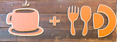 Food and Drink Symbol on Wooden photo
