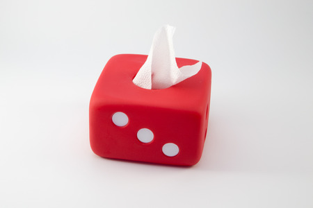 sniffles: Red Box of Tissues Isolated On White Background. Stock Photo