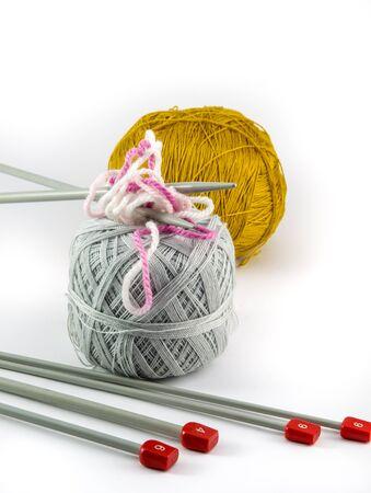 coziness: ball of yarn for knitting on white background