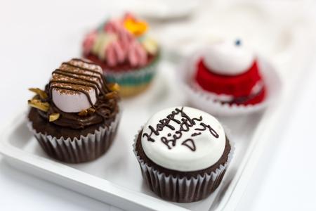 birth day: cupcake for happy birth day cake Stock Photo