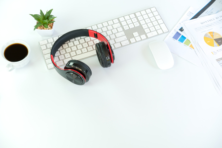 White Workspace with keyboard and mouse Фото со стока