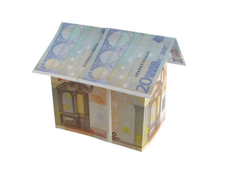 dwell: House on a white background made with European money.  Stock Photo