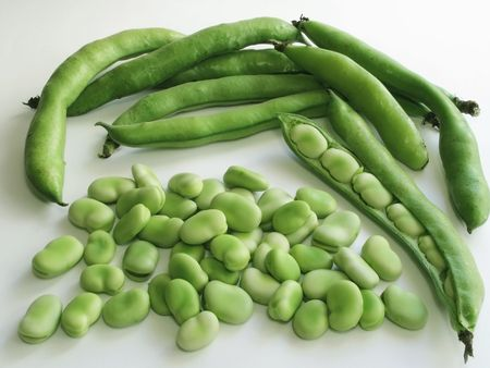 Close-up of broad beans and few pods  photo