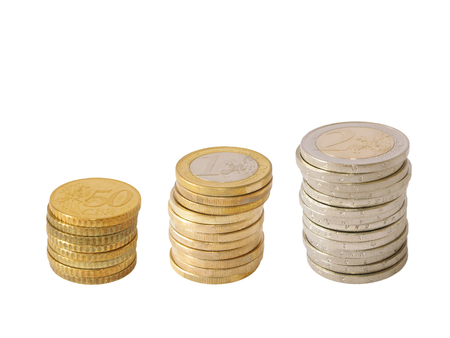 Podium - Coins piled up displaying a growing chart isolated on a white background photo