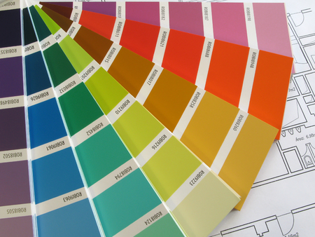 Color samples for selection with house plan on background Stock Photo - 1675040