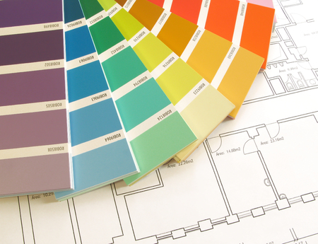 Color samples for selection with house plan on background Stock Photo - 1704433