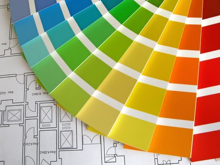 ordinate: Color samples for selection with house plan on background Stock Photo