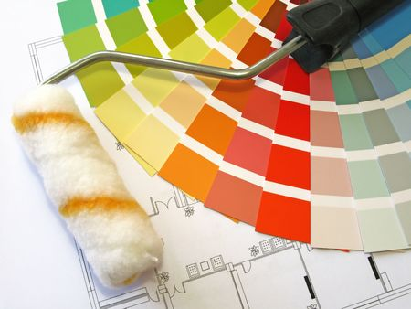 Color samples for selection and a roll with house plan on background Stock Photo - 2030012