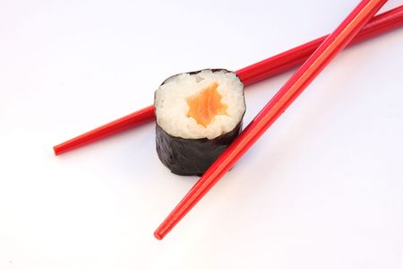 soysauce: Sushi and red chopsticks isolated on a white bacground