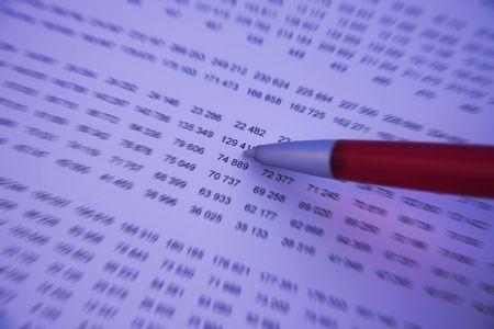 show bill: Pen control de n�meros en un informe financiero - Blue tono y el efecto borroso