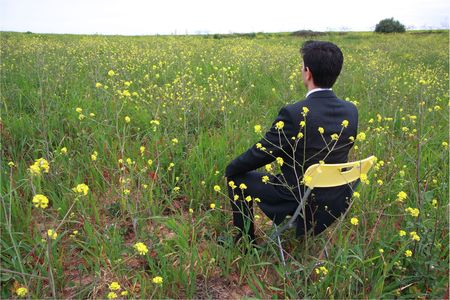 man field: A business man sitting in a field with flowers Stock Photo