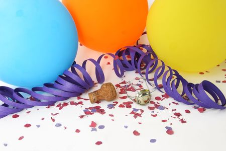 Background party with colorful balloons, confetti and champagne cork photo