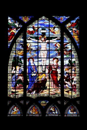 Religious stained glass window in a church