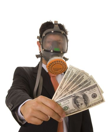 A business man with a gas mask giving banknotes to someone photo
