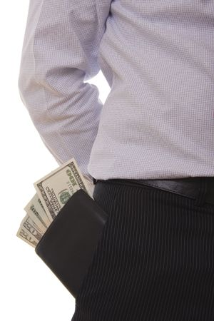 A successful business man putting his wallet on the pocket