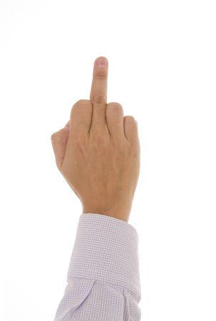 obscene: Obscene gesture - Man showing the middle finger