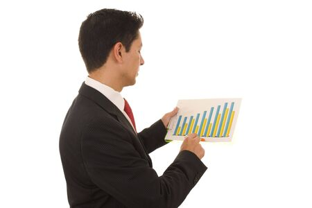 A business man looking to a financial report photo