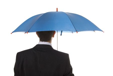 An insurance agent ready to protect you with his umbrella