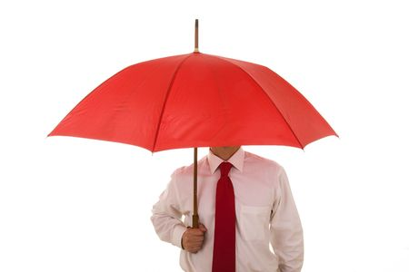 An insurance agent ready to protect you with his umbrella photo