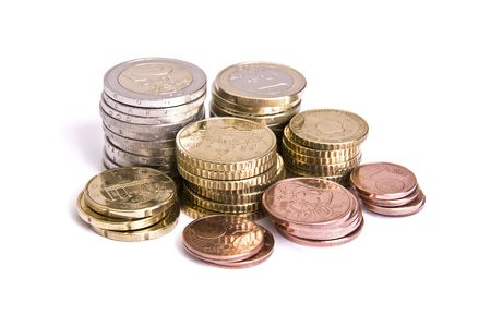 coins pile: Euro coins pile isolated on white background