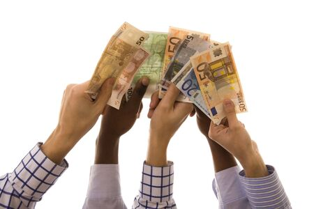Hands up with a lot of euro banknotes isolated on white photo