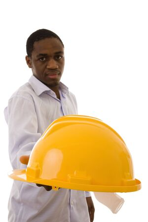 A man giving you a yellow helmet to protect your head Stock Photo - 4291304