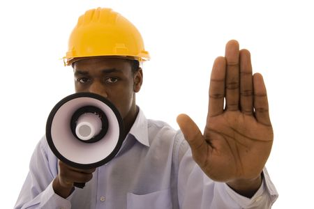 Worker with megaphone saying stop to someone Stock Photo - 4291306