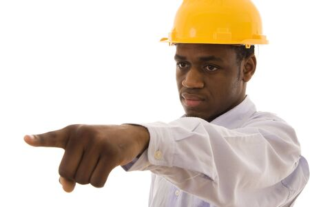 A black worker pointing with his finger to someone Stock Photo - 4291305