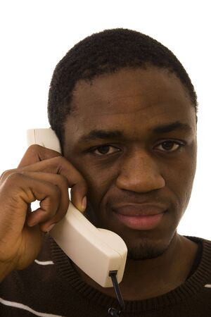 Black man with a funny expression on phone Stock Photo - 4291314