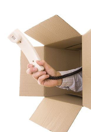 Hand giving you a phone receiver inside a box Stock Photo - 4291309