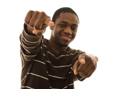 you black: Hombre sonriente apuntando a usted con los dedos