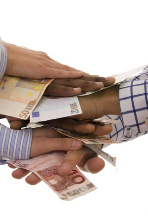Successful teamwork - multiracial hands with euro banknotes isolated on white photo