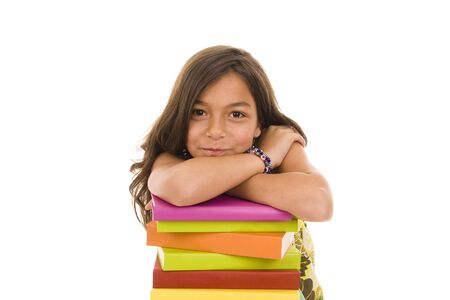 Happy young girl with colorful books
