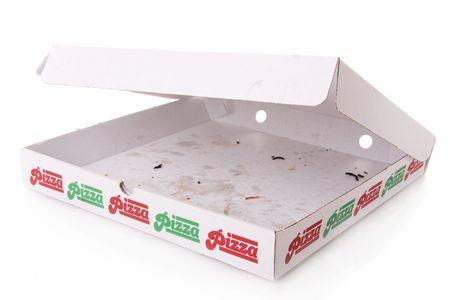 pizza box: Una caja vac�a de pizza isolated on white